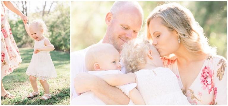 family photos in golden light