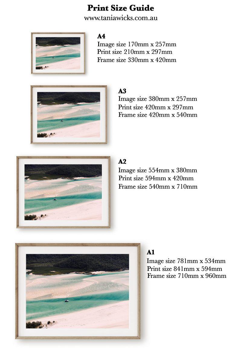 Horizontal Print Size Guide